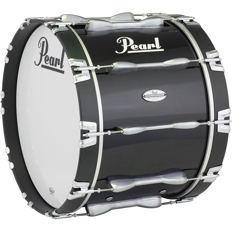 "Pearl 20"" Championship Maple Marching Bass Drum in Piano Black Lacquer"