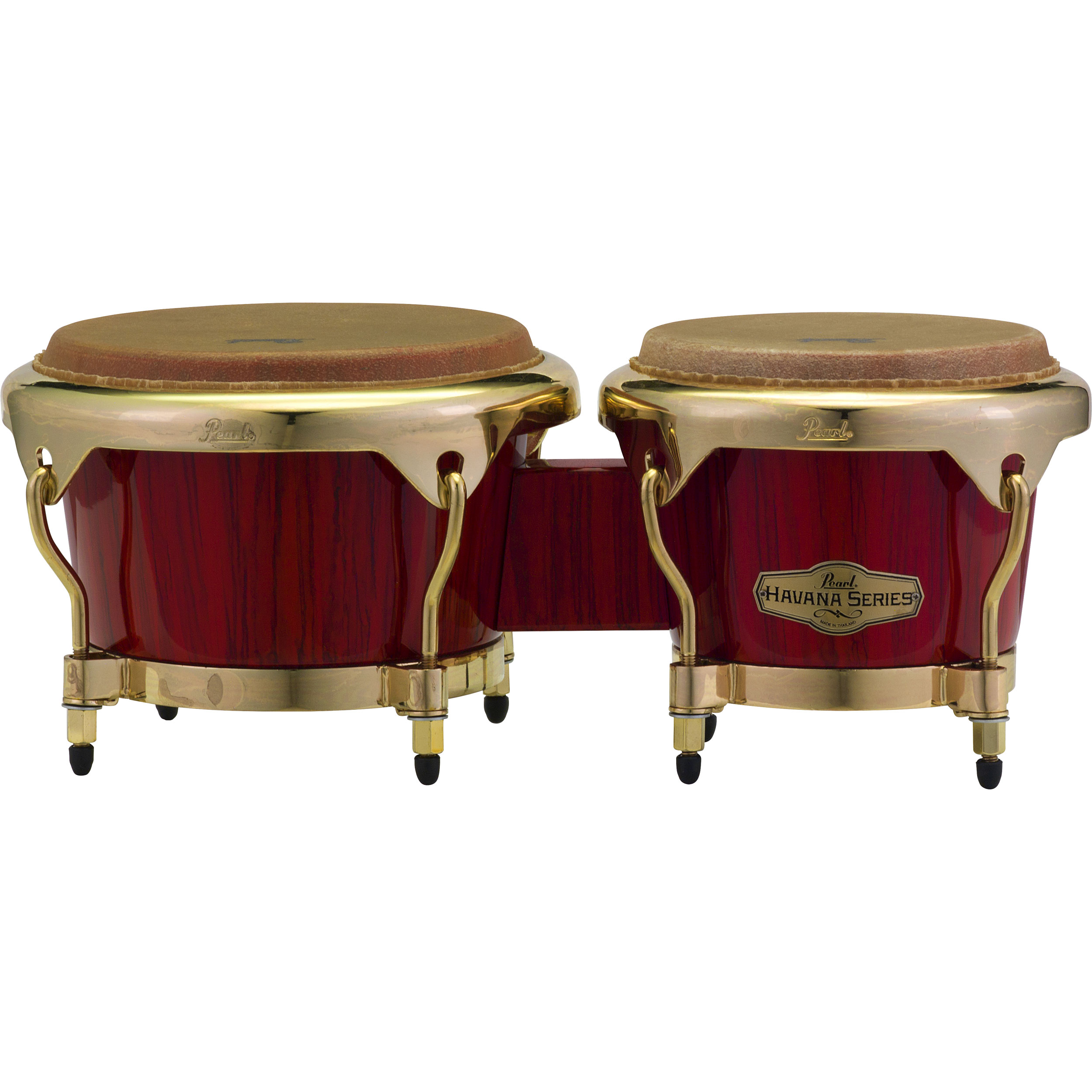 "Pearl 7"" & 9"" Havana Series Fiberglass Bongos in Red Tiger Stripe with Gold Hardware"