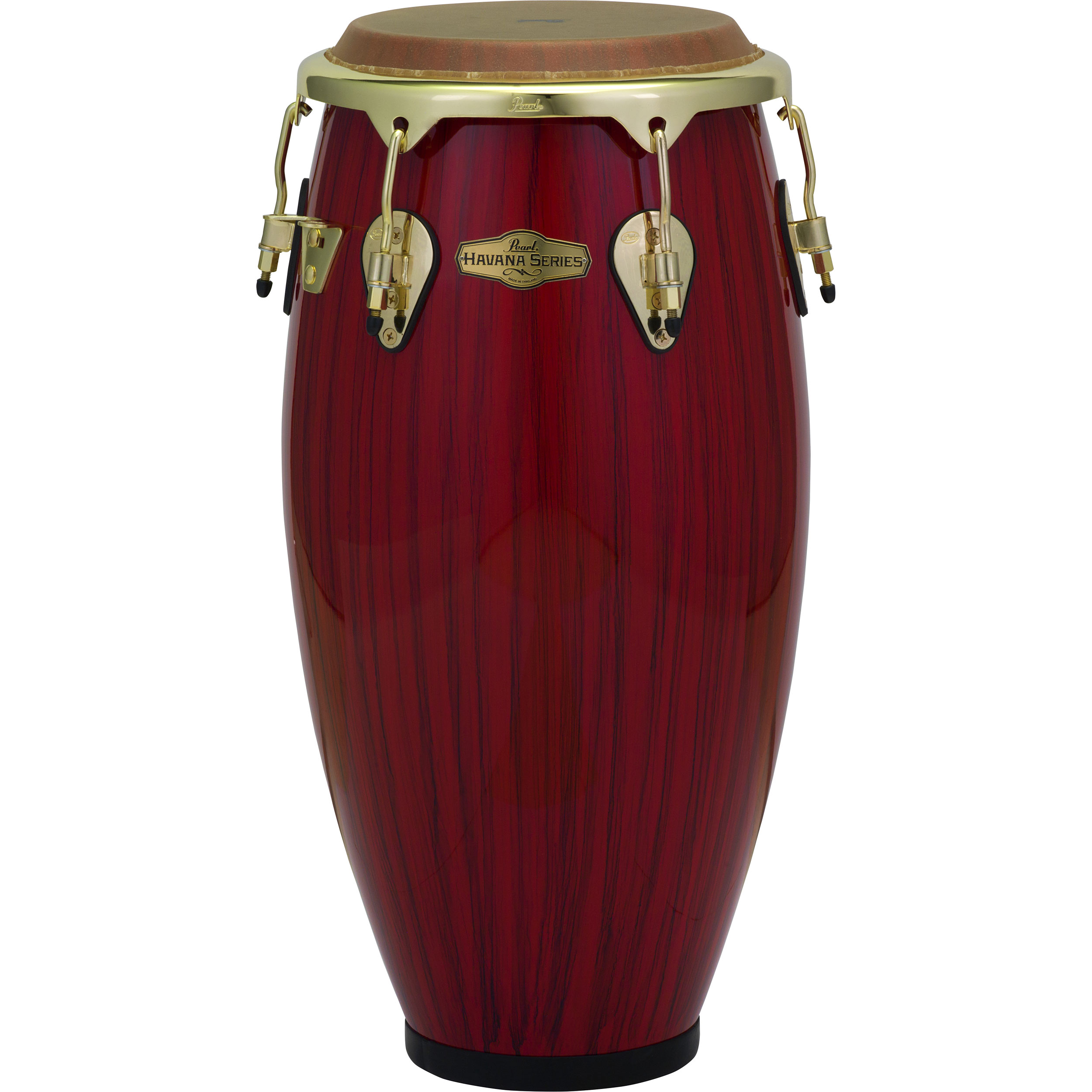 "Pearl 11.75"" Havana Series Fiberglass Conga in Red Tiger Stripe with Gold Hardware"