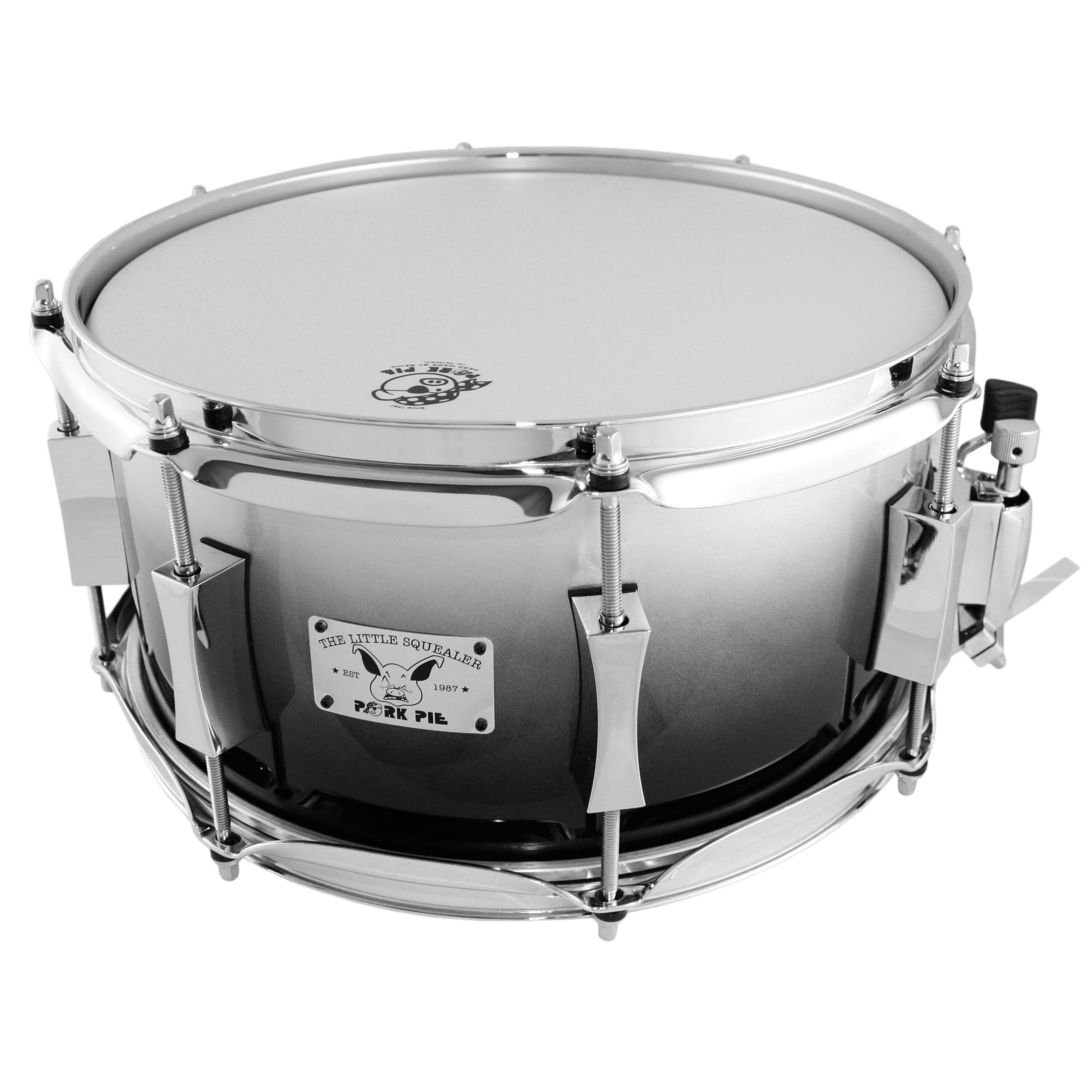 "Pork Pie 6"" x 12"" 8-Ply Maple/Birch Snare Drum in Silver Metallic Fade"