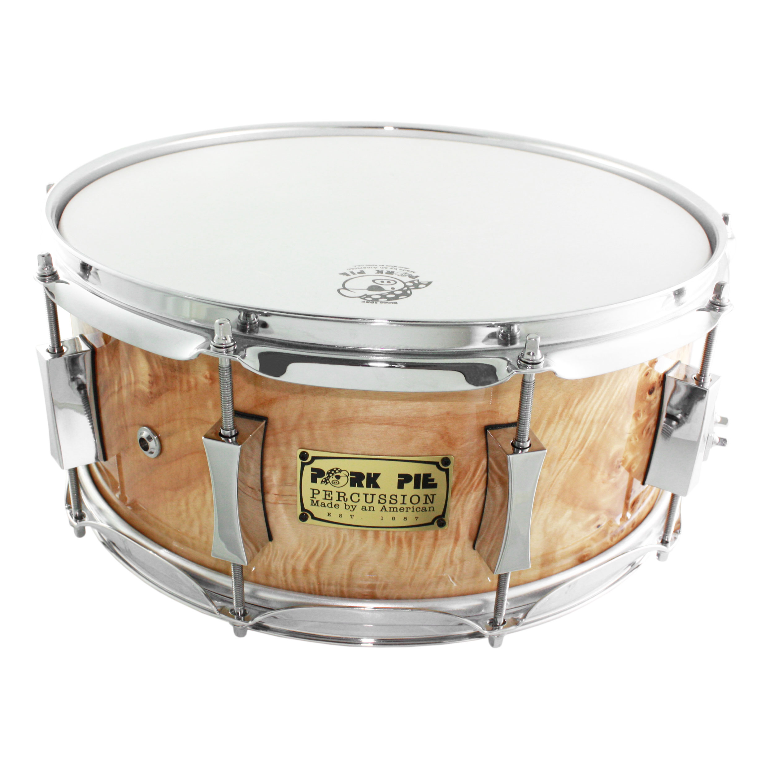 "Pork Pie 6"" x 14"" Mappa Burl/Maple Snare Drum"
