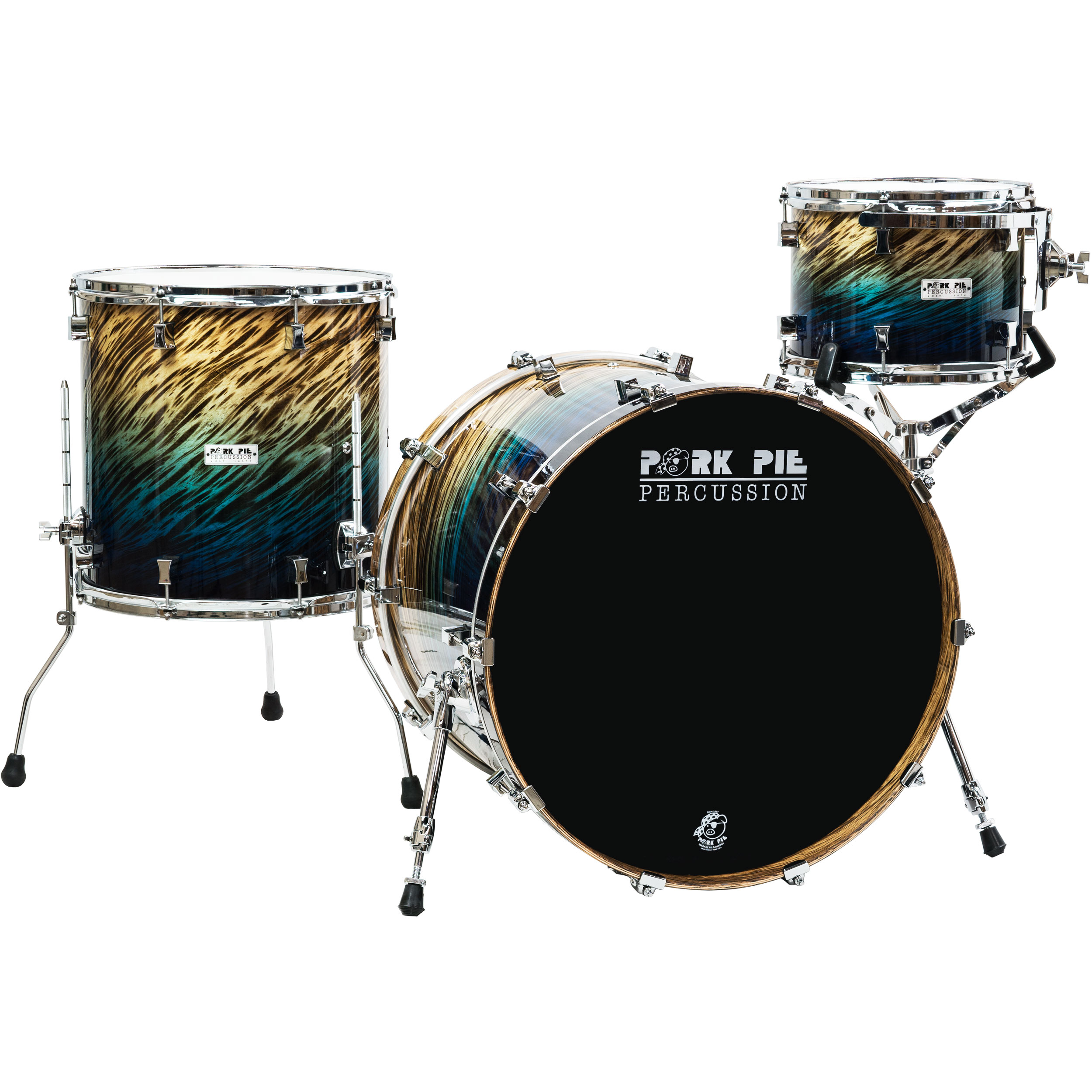 "Pork Pie Percussion Birch 3-Piece Drum Set Shell Pack (22"" Bass, 12/16"" Toms) in Blue Fade Dip"