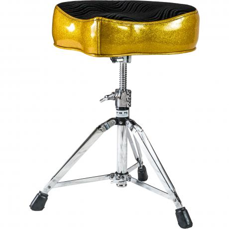 Pork Pie Big Boy Bicycle Gold Sparkle/Black Swirl Drum Throne