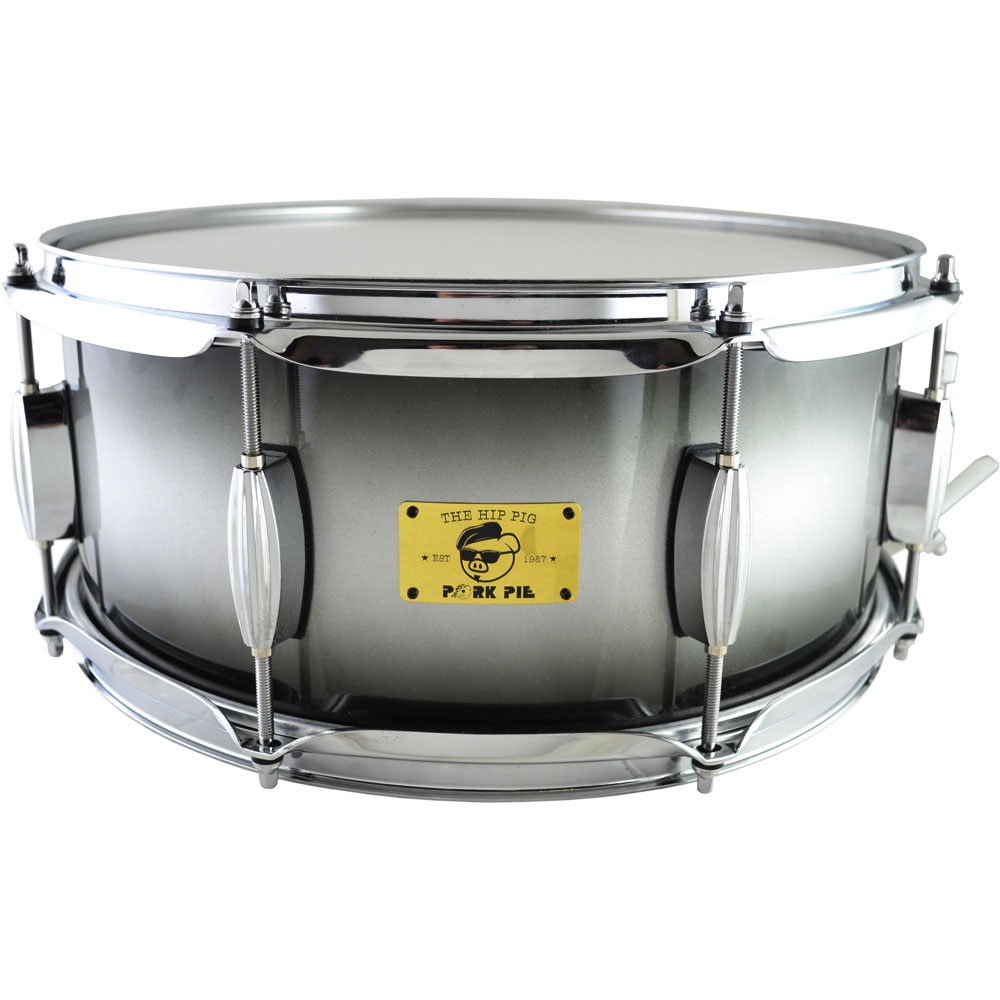 "Pork Pie Percussion 6"" x 14"" Exclusive Hip Pig Snare Drum in Silver/Black Burst"