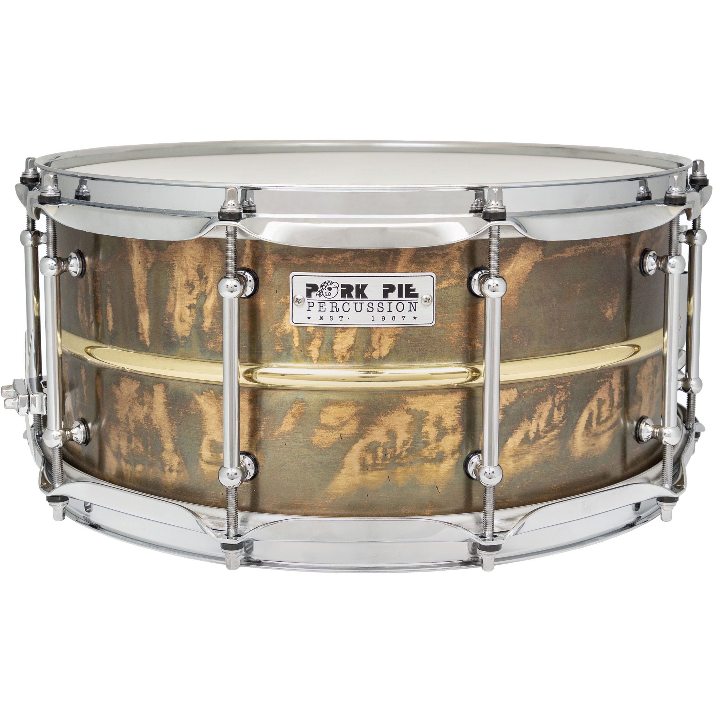 "Pork Pie Percussion 6.5"" x 14"" Patina Brass Snare Drum with Polished Bead"