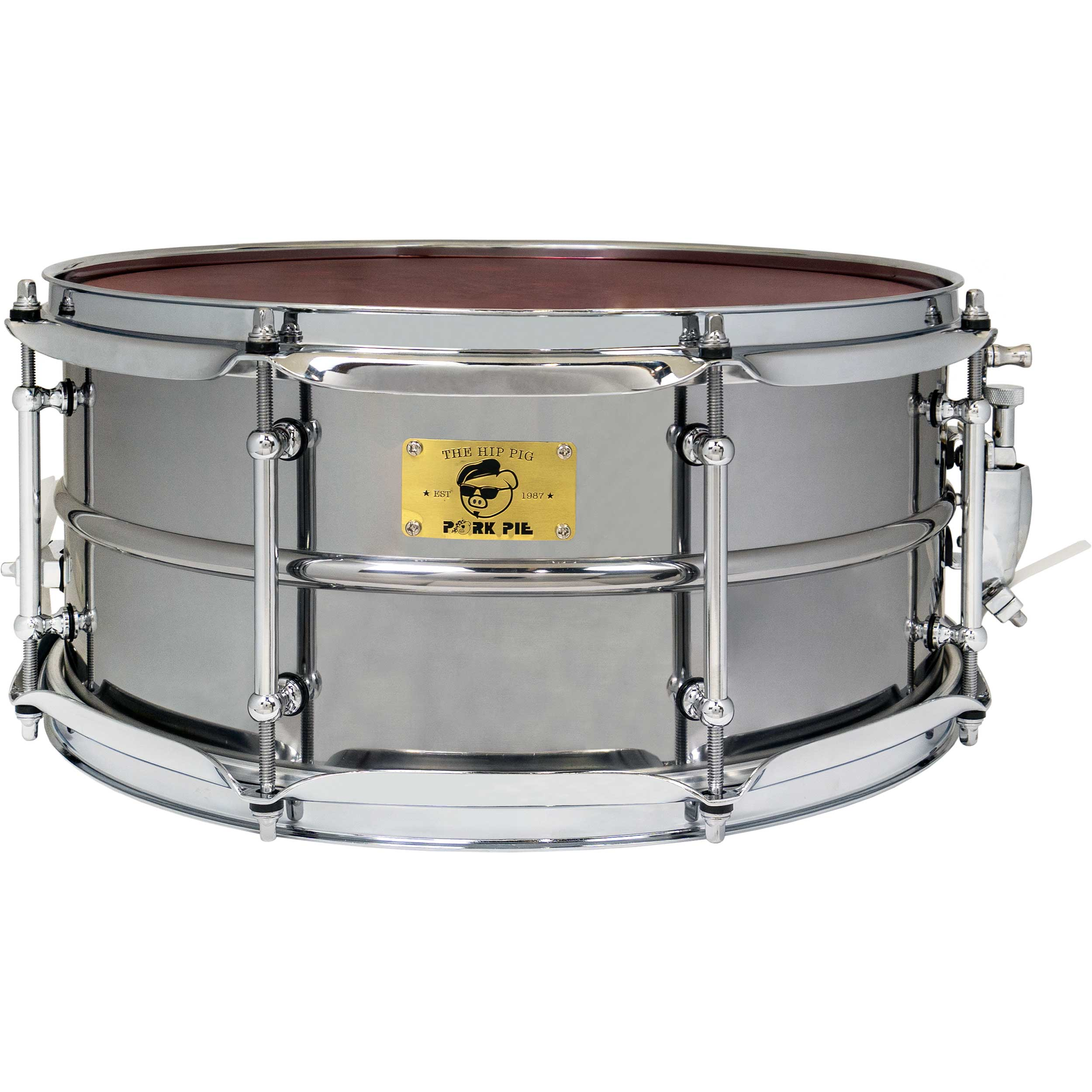 "Pork Pie Percussion 6.5"" x 14"" Pig Iron Snare Drum in Polished Finish"