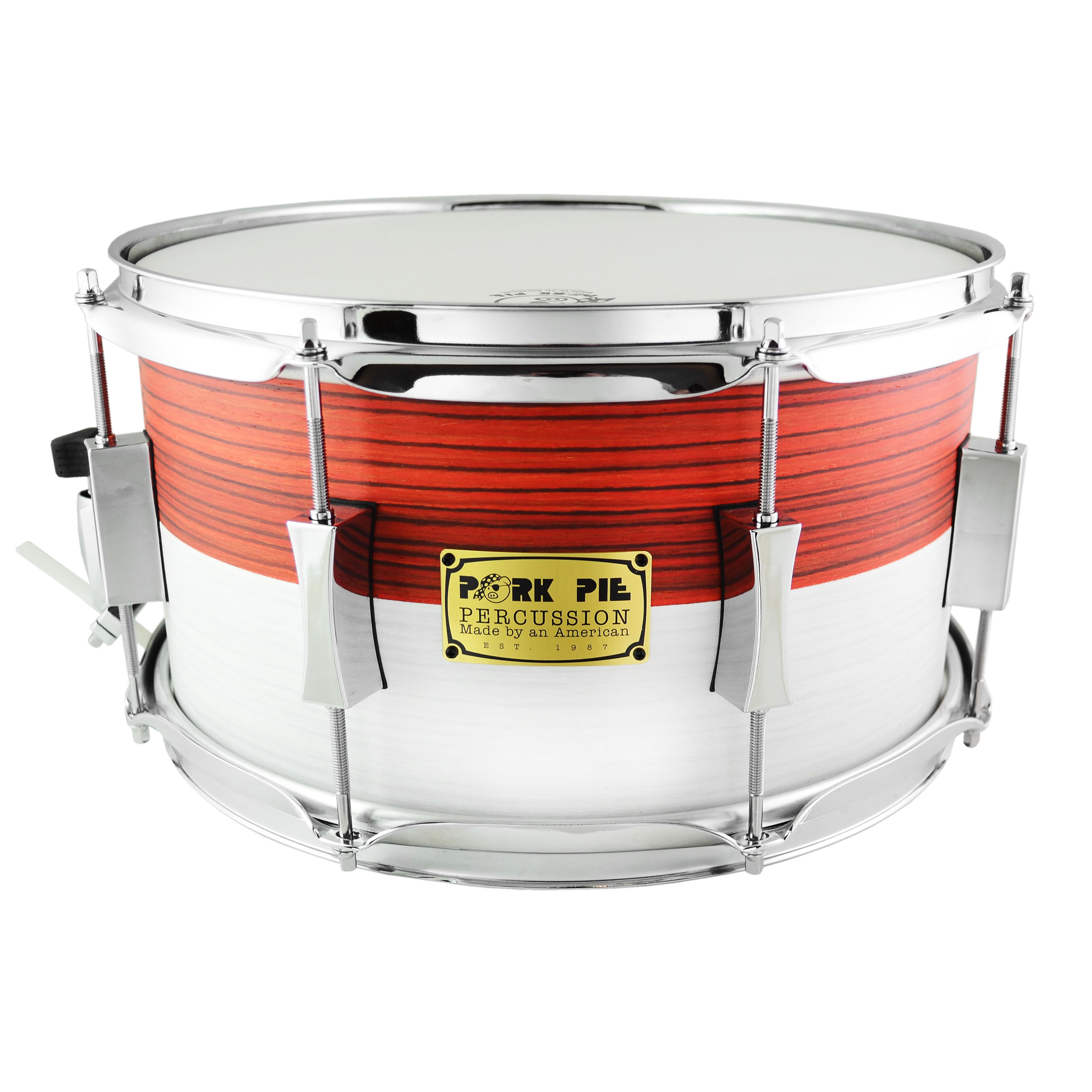 "Pork Pie Percussion 7"" x 13"" USA Custom Maple Snare Drum in Singaporean Flag Veneer"