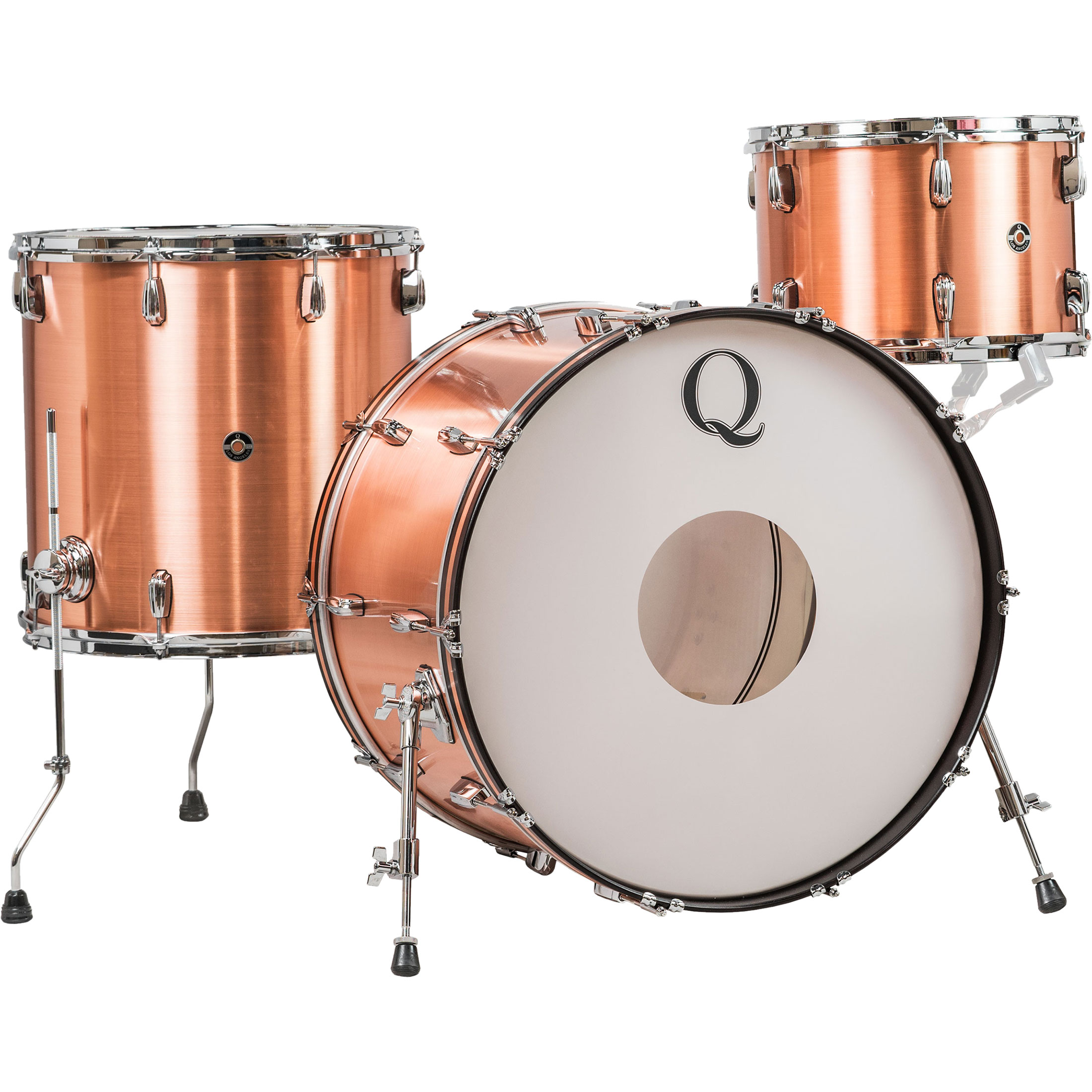 Q Drum Co. 3-Piece Raw Copper Shell Pack (22B-13-16F)