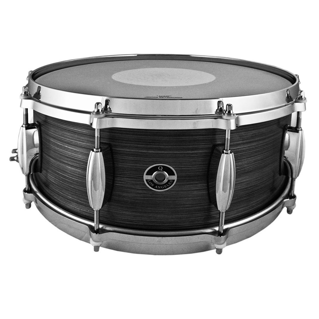 """Q Drum Co. 6"""" x 14"""" Aluminum Plate Snare Drum with Brushed Black Patina"""