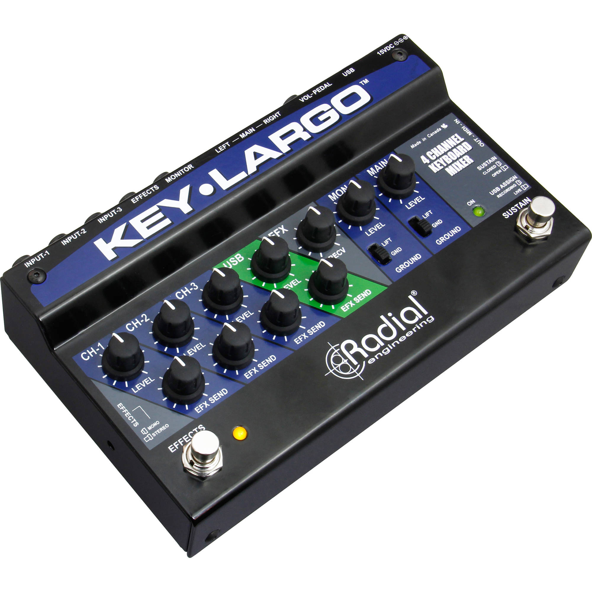 Radial 3-Channel Stereo Keyboard Performance Mixer