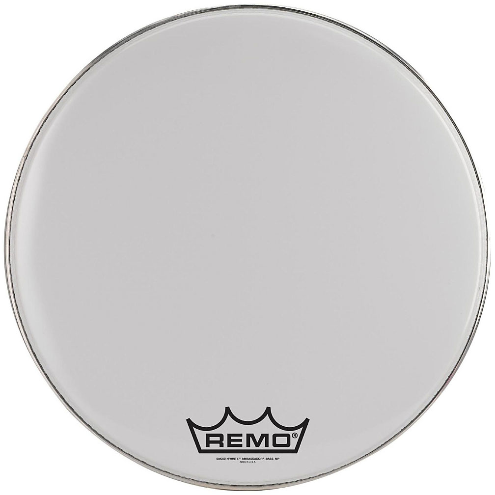 "Remo 32"" Emperor Smooth White Crimplock Marching Bass Drum Head"