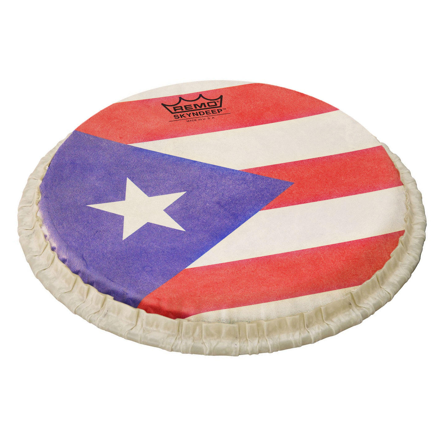 """Remo 9"""" Tucked Skyndeep Bongo Drum Head with Puerto Rican Flag Graphic"""
