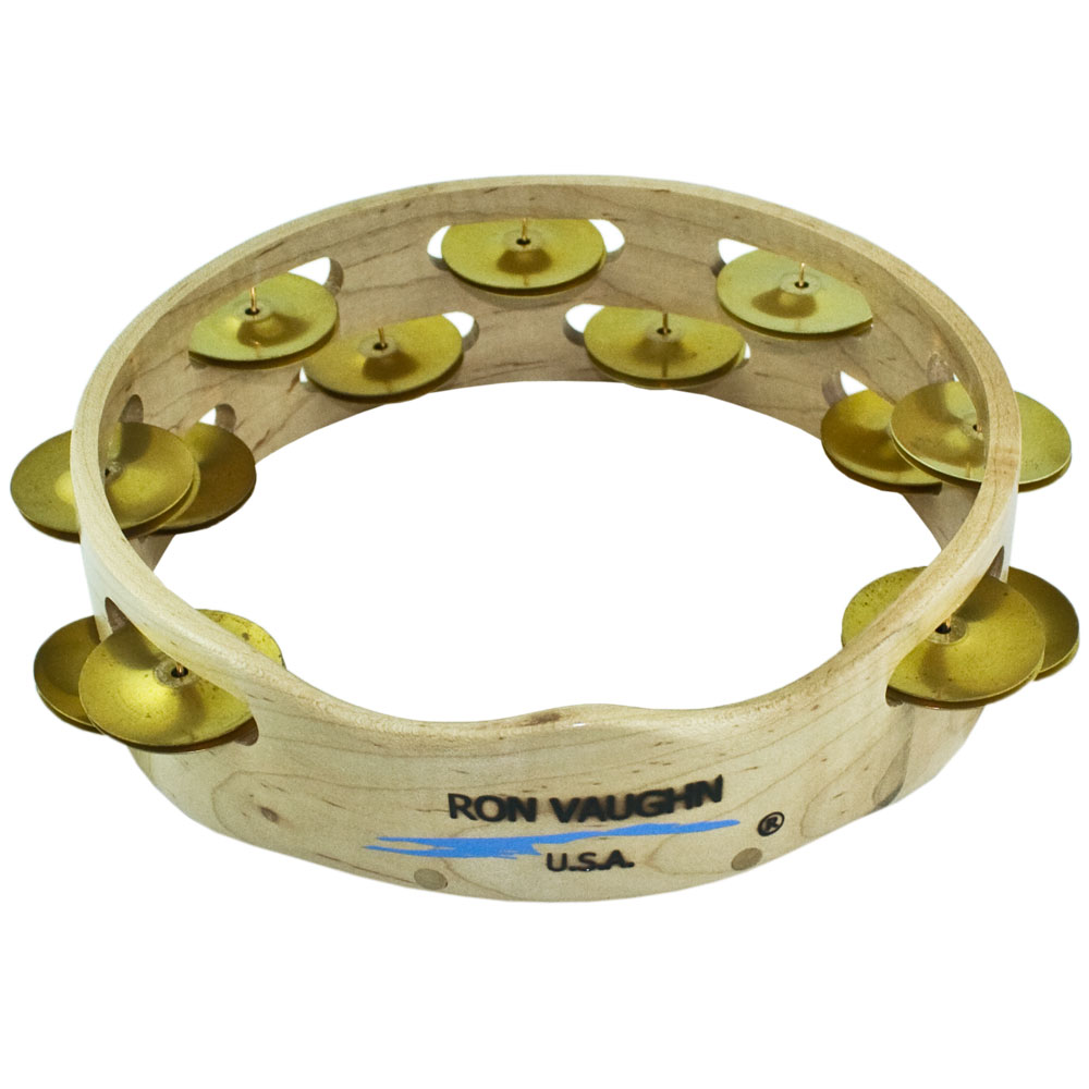 "Ron Vaughn 8"" Headless Double-Row Brass Rhythm Tambourine with Supergrip"