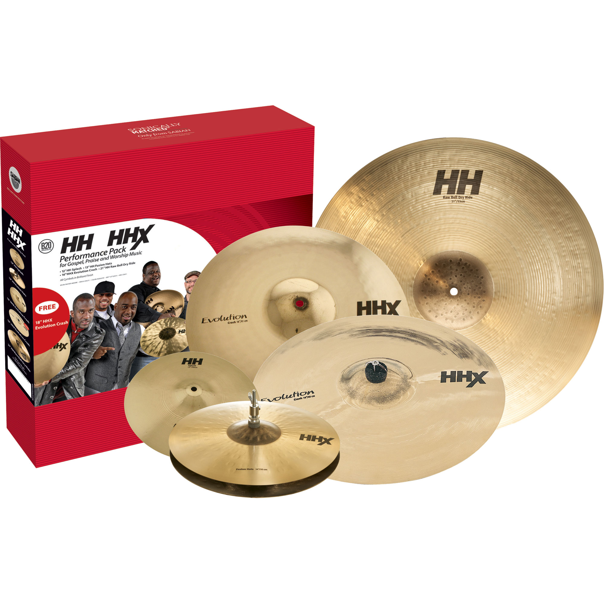 Sabian HH/HHX Praise & Worship 5-Piece Cymbal Box Set (Hi Hats, Crash, Ride, Splash, FREE Crash)