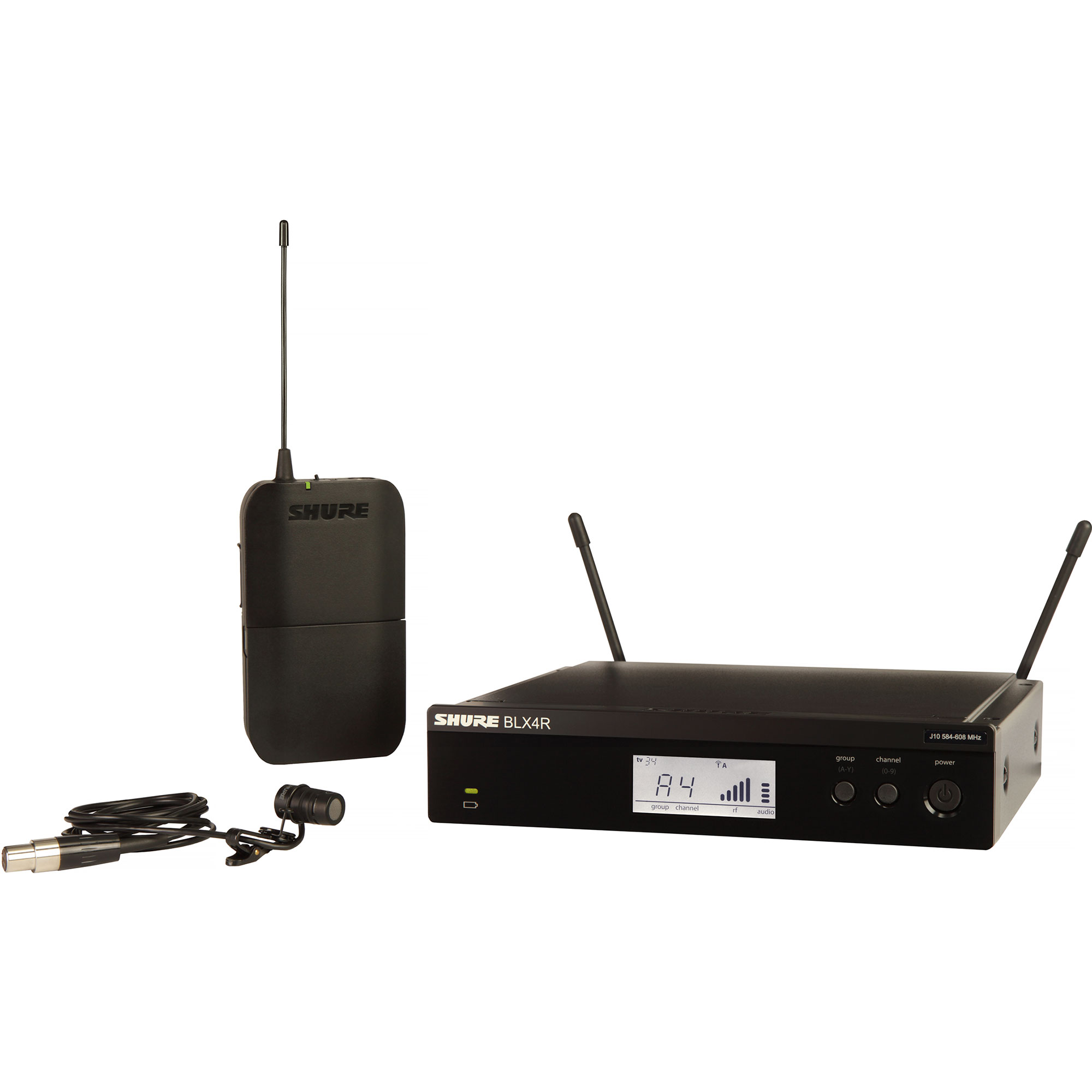Shure BLX Wireless System with WL185 Lavalier Microphone, BLX1 Bodypack Transmitter, and BLX4R Receiver