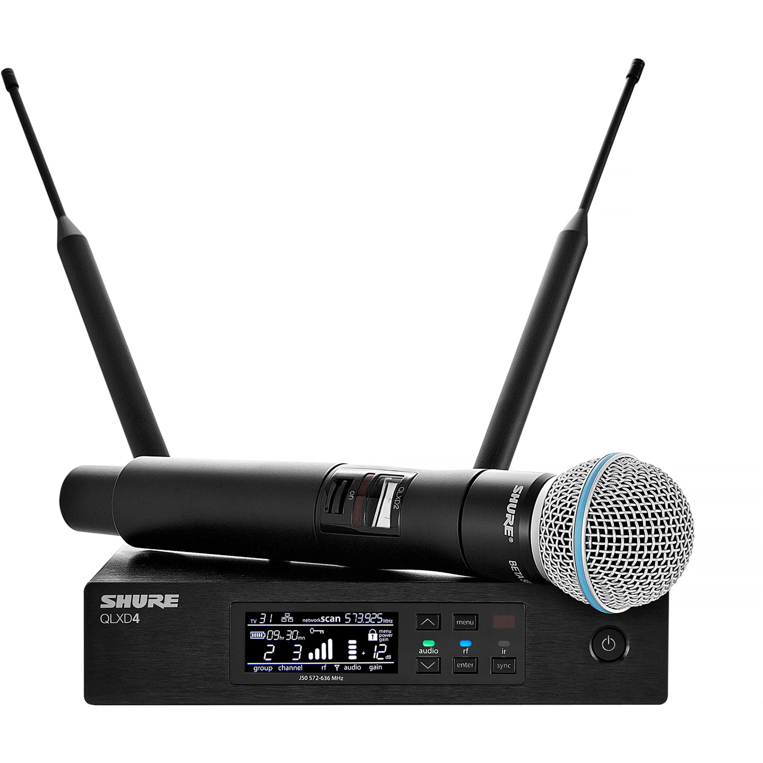 Shure QLX-D Wireless System with BETA58 Microphone, QLXD2 Handheld Transmitter, and QLXD4 Receiver