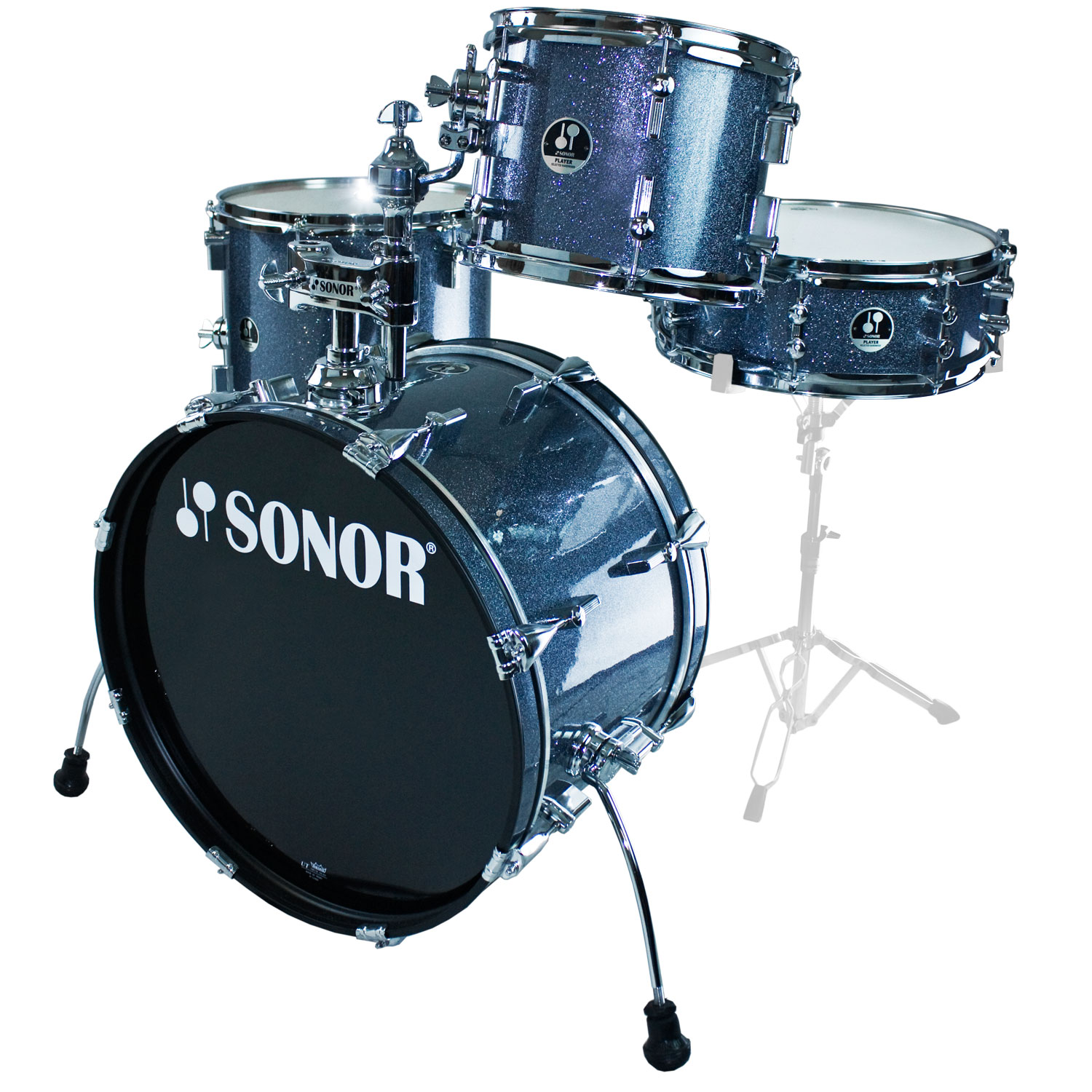 sonor player kit 4 piece drum set shell pack 20 bass 10 14 toms 14 snare. Black Bedroom Furniture Sets. Home Design Ideas