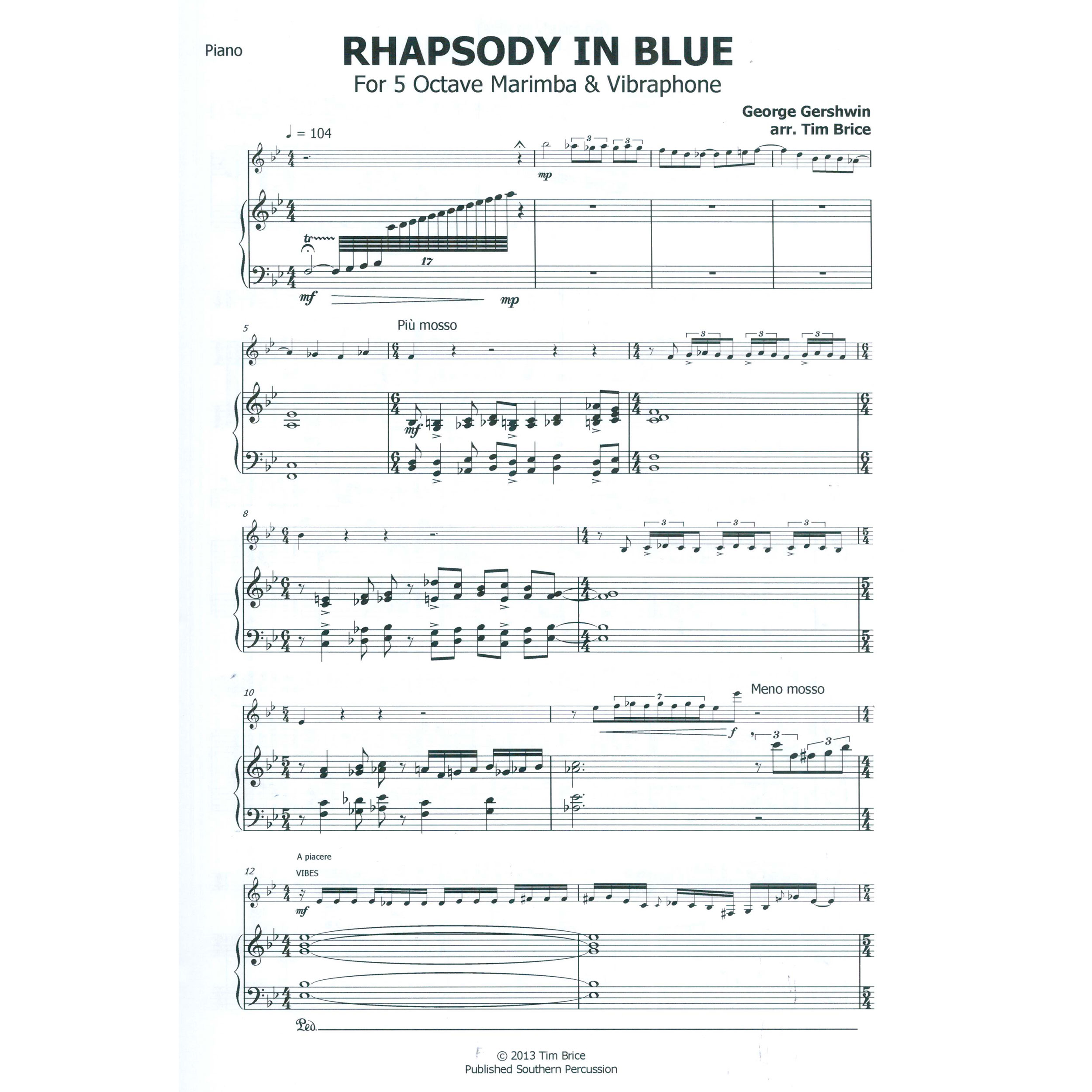 Rhapsody In Blue Trumpet Solo Sheet Music