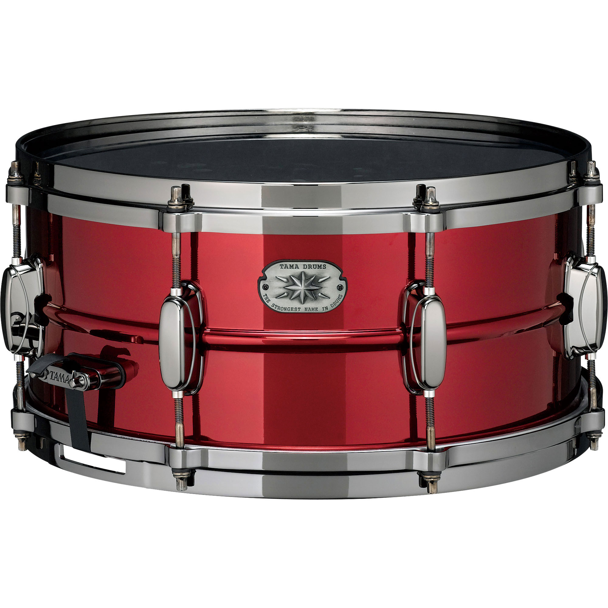 "Tama Limited Edition 6.5"" x 14"" Metalworks Steel Snare Drum in Ruby Red Lacquer with Black Nickel Hardware"