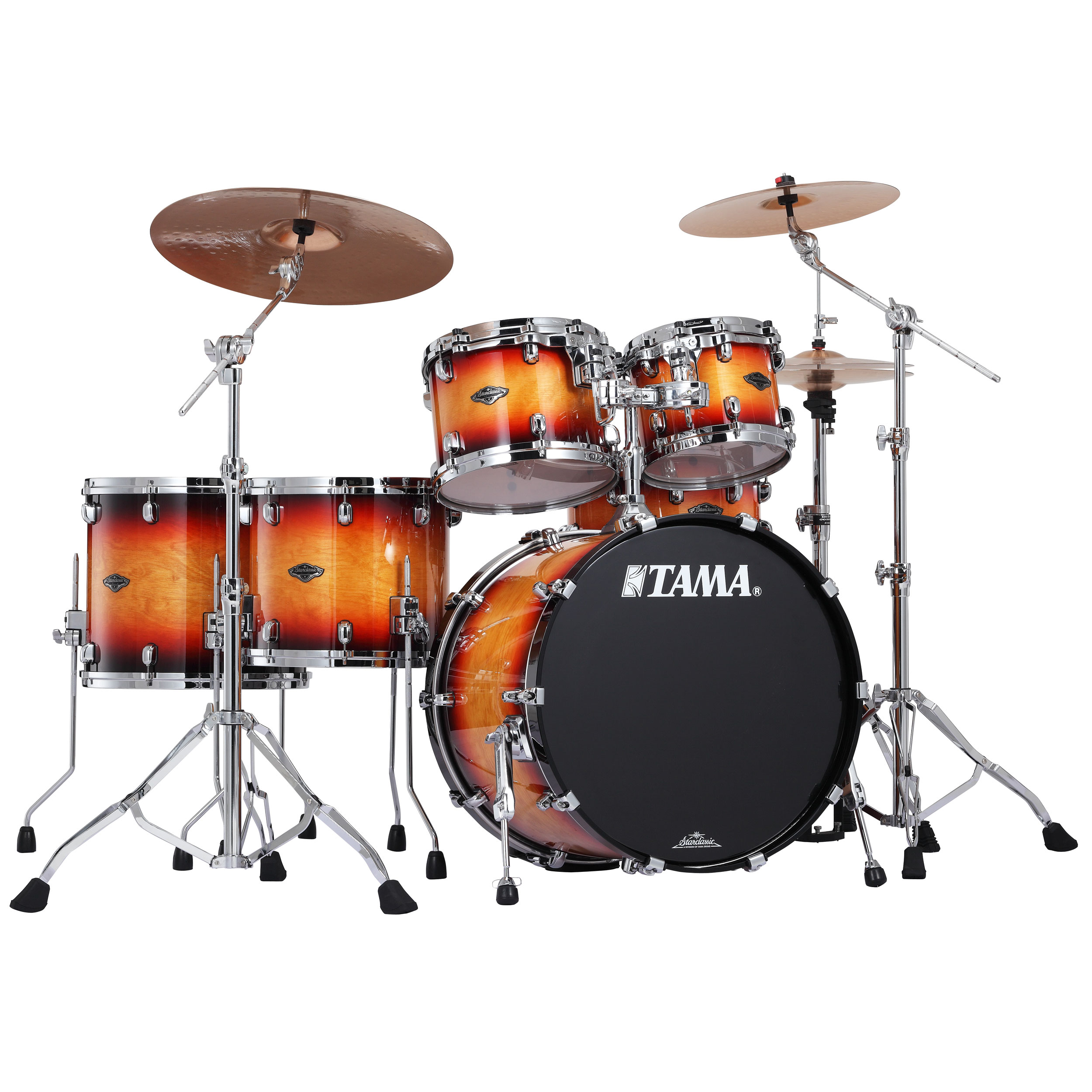"Tama Starclassic Performer B/B 5-Piece Drum Set Shell Pack (22"" Bass, 10/12/14/16"" Toms) in Transparent/Solid Finish"