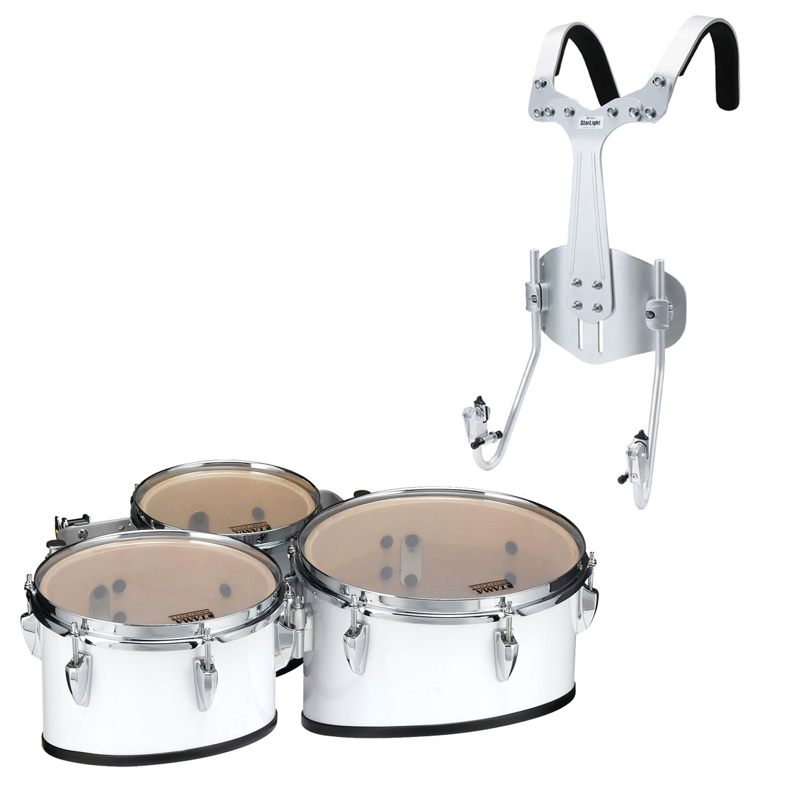 """Tama 8-10-12"""" StarLight Marching Tenors in Sugar White Wrap with Carrier"""