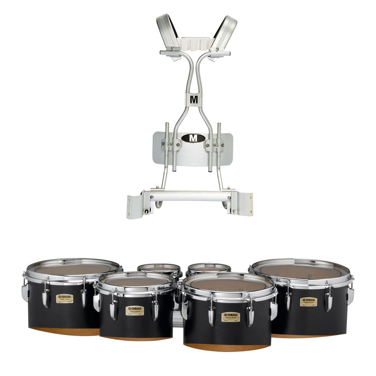 """Yamaha 6-6-8-10-12-13"""" 8300 Field-Corps Marching Tenors with Tube Carrier and Case"""