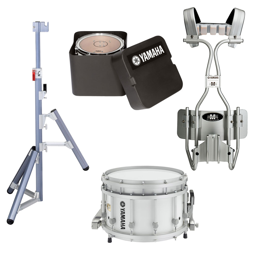 "Yamaha 14"" (Diameter) x 9"" (Deep) 9300 SFZ Piccolo Marching Snare Drum with Tube Carrier, Case, and Stand"